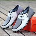 2016 Nueva Primavera Y Otoño de Los Hombres Zapatos de Los Hombres Zapatos Casuales transpirable Hombres de La Moda de Los Planos Del Cordón de Cuero, Además de Zapatos de Tamaño Libre gratis