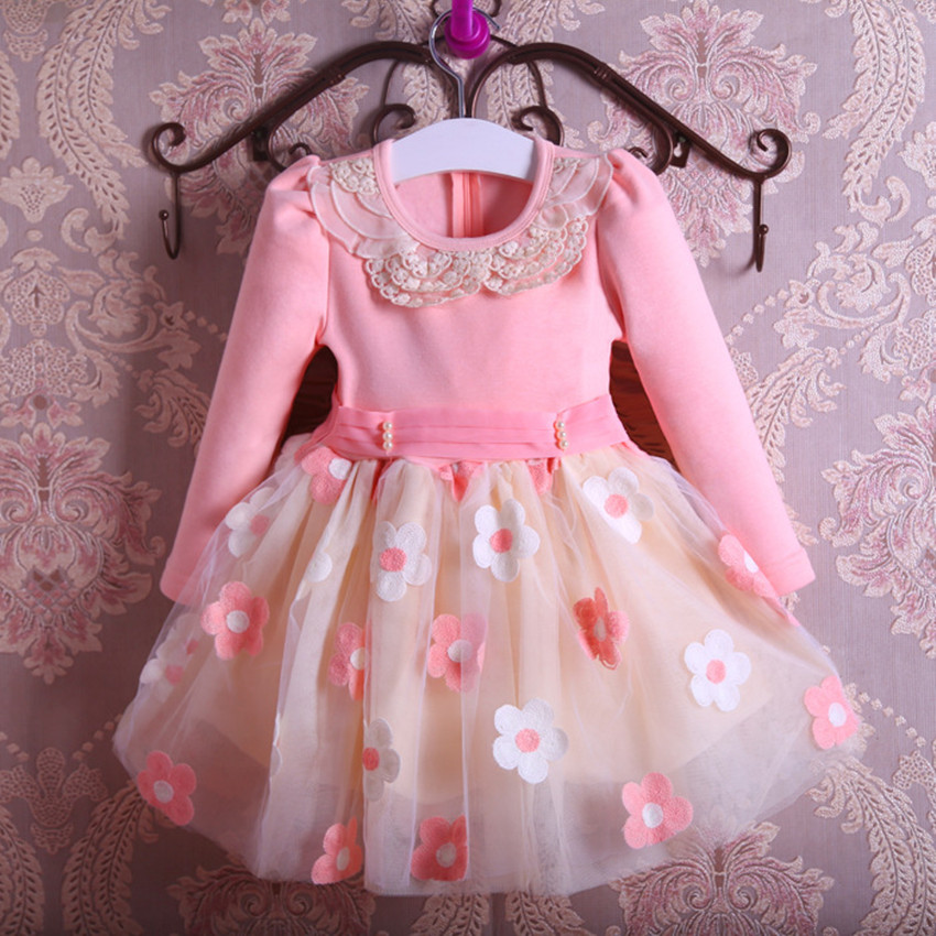 New Autumn Pearls Bow Flowers Girl Party Dress Wedding Birthday Girls Dresses Tutu Style Princess Clothes for children 3-9T baby girl baptism dress sleeveless flowers wedding vestido infants girls clothes princess dresses 3 10 year birthday party dress