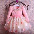 New Autumn Pearls Bow Flowers Girl Party Dress Wedding Birthday Girls Dresses Tutu Style Princess Clothes for children 3-9T