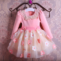 New Autumn Pearls Bow Flowers Girl Party Dress Wedding Birthday Girls Dresses Tutu Style Princess Clothes