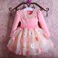 Nuevo Otoño Perlas Arco Niñas Vestidos de Flores Niña Vestido de Fiesta de Cumpleaños de La Boda Estilo Tutú de la Princesa Ropa de los niños 3-9 T