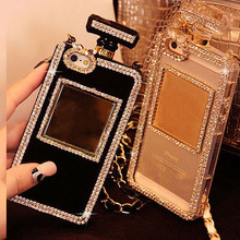 Luxury Diamond Bling Perfume Bottle Lanyard Chain Case For iphone 6 Plus 5 5s 4s for