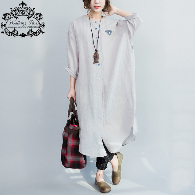 Women Dress Big Size Pattern Printing Cotton and Linen T-Shirt Summer Fashion Casual Female Plus Size Long Dresses With Buttons