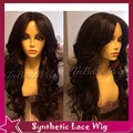 "Long body wave No lace &glueless lace front wig&high ponytails full lace wig free/side/middle part heat resistant 24""off black"