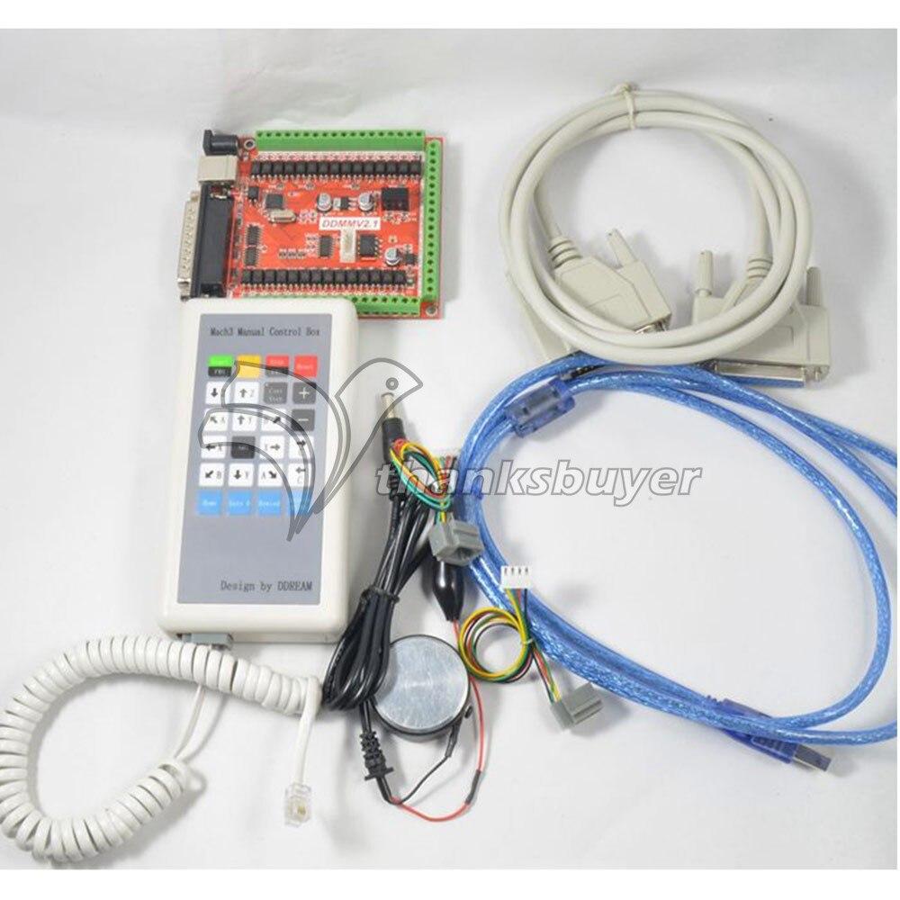 Cnc 6軸usb lptマッハスリーブレークアウト基板キットw/手動制御ボックス用制御ステッピングモータ  グループ上の 家電製品 からの スマートリモコン の中 1