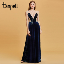 Tanpell spaghetti straps evening dresses dark navy sleeveless sequins floor length a line gown women prom party dress