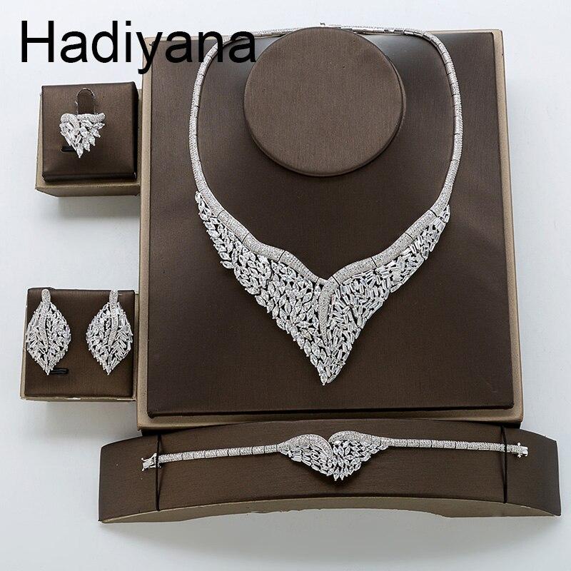 Jewelry Set HADIYANA Luxury Bride Wedding Engagement Zircon Leaves Sets For Women Birthday Party Gifts TZ8124