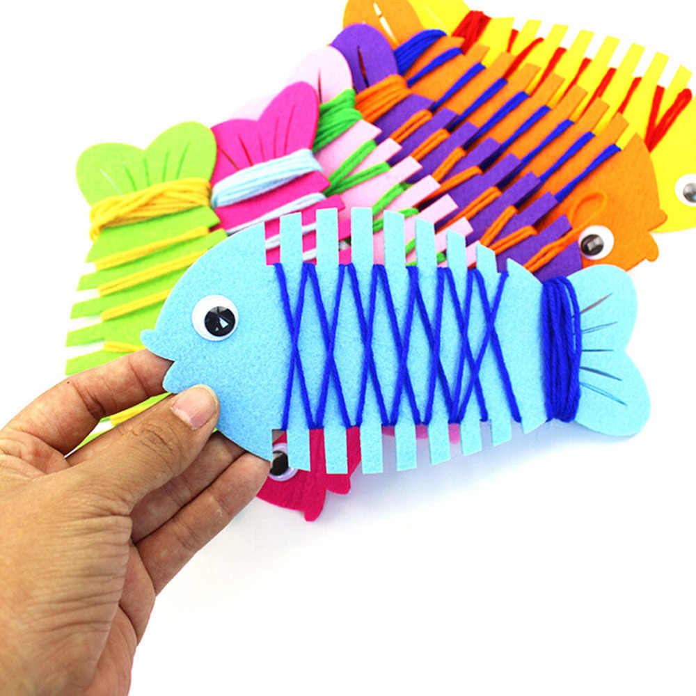 Animales de dibujos animados peces bebé niños juguetes de aprendizaje Patience Thinking mano coordinación entrenador línea de cuerda alrededor de peces Color al azar