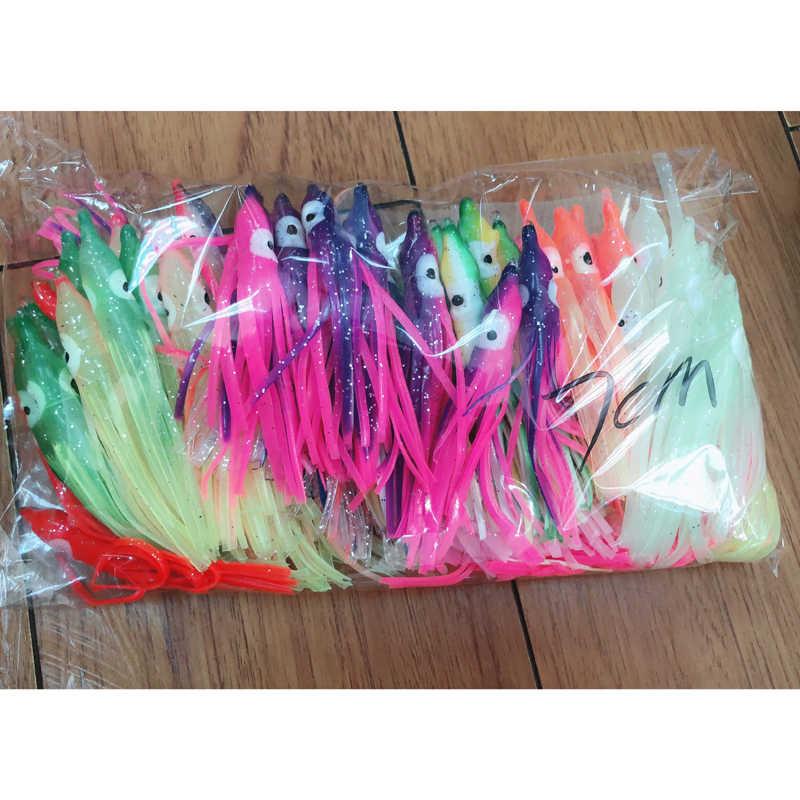 Envío gratis 1/2/5 piezas falda de calamar pulpo agua salada señuelo conjunto pulpo cebos Combo señuelo Trolling señuelos suaves de pesca de cebo