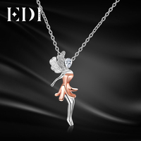 EDI Fairy Soild 18k Multi Tone Gold 0 15ct Pear Shape Real Natural Diamond Pendant For