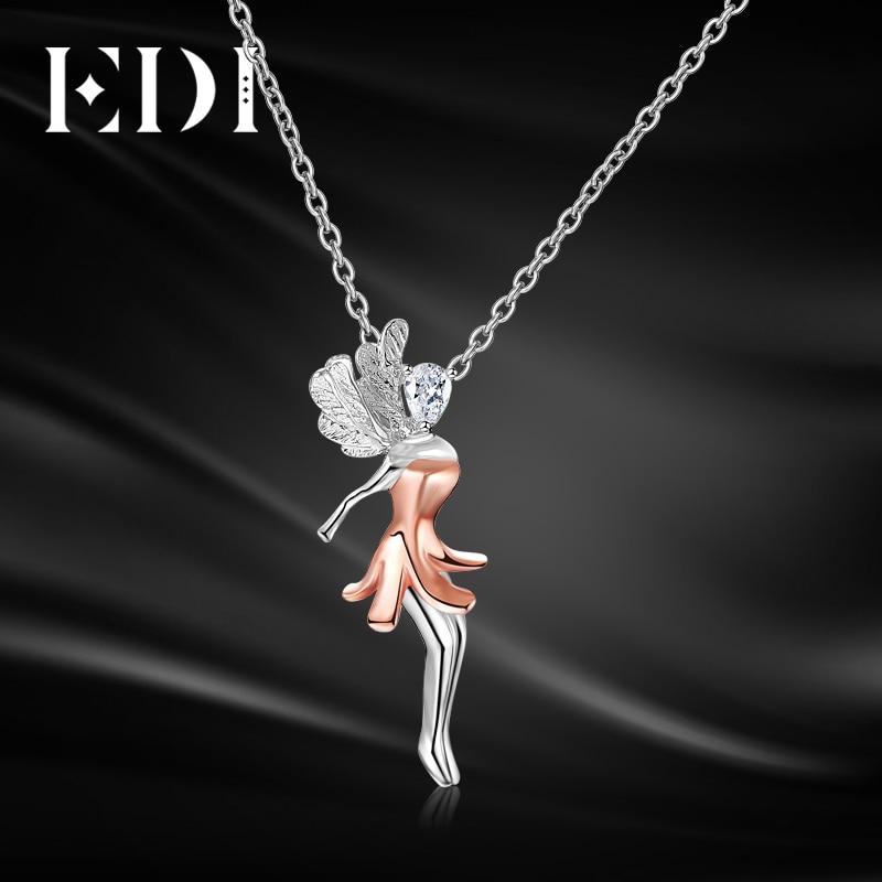 EDI Fairy Soild 18k Multi tone Gold 0.15ct Pear Shape Real Natural Diamond Pendant For Women Wedding Jewelry