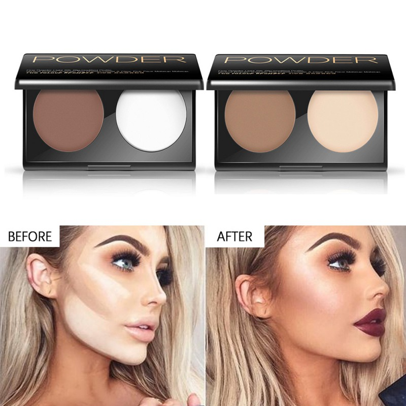 2 in 1 Highlighter Shadow Powder Palette Face Trimming Makeup Face Contour Grooming Facil Concealer Pressed Powders Face Makeup