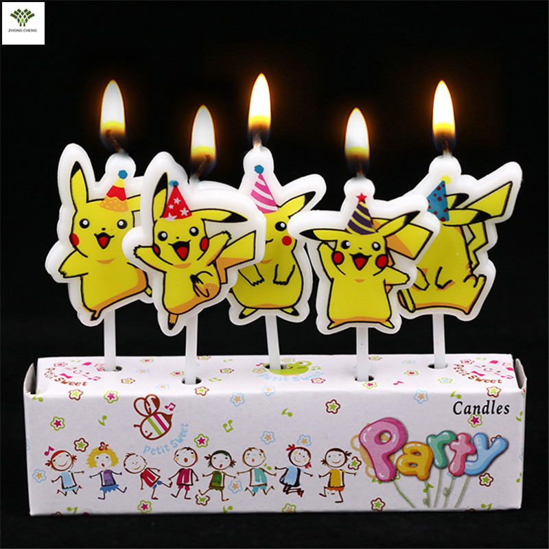 buy 5pcs pikachu candle pokemon cake topper happy birthday cake candle birthday. Black Bedroom Furniture Sets. Home Design Ideas