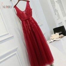 2019 Elegant Burgundy Silver Tulle Long Evening Dress Applique V Neck Beading Gown robe de soiree Longue