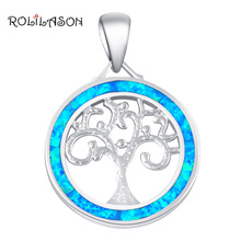 ROLILASON Trendy Blue Fire Opal Silver Stamped Fashion Jewelry Necklace Pendants for Women party anniversary gift OP611