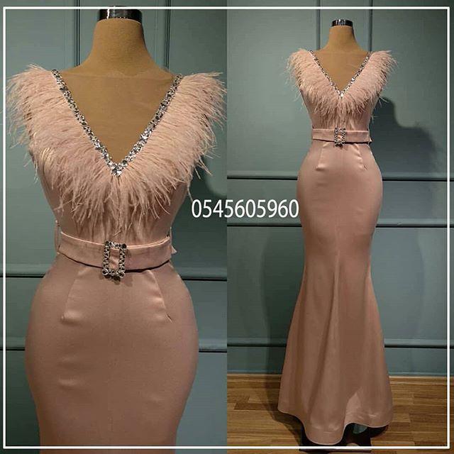 Muslim   Evening     Dresses   2019 Mermaid V-neck Feather Elegant Islamic Dubai Saudi Arabic Long Formal   Evening   Gown