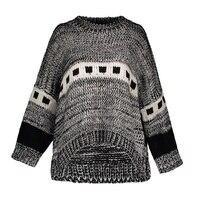 Women Casual Knitwear Autumn Winter Gray Geometric O Neck Loose Long Sleeve Patchwork Color Block Women