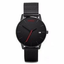 Lujo Negro de Malla de Acero Minimalista Reloj de Pulsera de Moda Mujer Relojes de Vestir Pequeño MOQ Quartzo Relojes fecha de Logotipo Personalizado de los Hombres