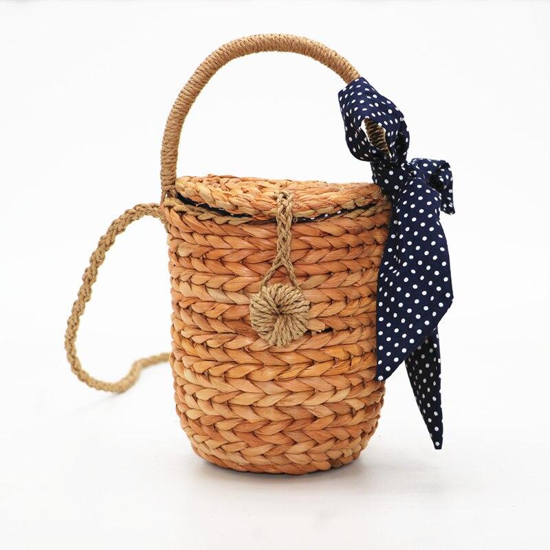 Women's Bags Precise Blascher New Basket Handmade Straw Woven Bag With Bow Camel Bucket Summer Beach Handbag Rattan Women Bag Gba32 Limpid In Sight