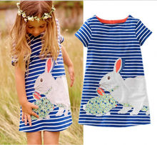 2016 wholesale fashion cute baby kids girls summer dress rabbit cartoon stipped dress clothes 2-7Y