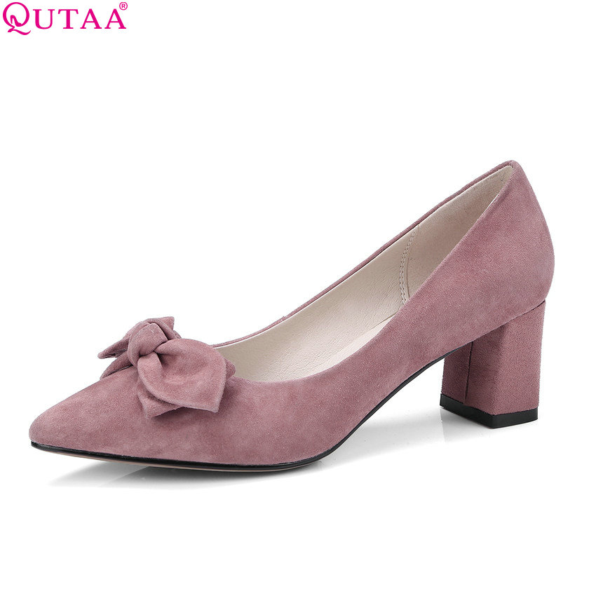 QUTAA 2018 Women Pumps Kid Suede Fashion Square High Heel Women Shoes Pointed Toe Platform Bow Tie Ladies Pumps Size 34-40 qutaa 2017 women pumps thin high heel bow tie slingback platform pointed toe genuine leather ladies wedding shoes size 34 39