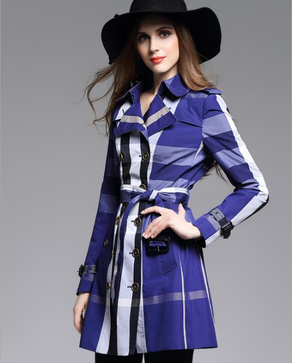 ca1e4fd7d Women Trench Coat British Style Autumn Lattice Trench For Women Grid ...