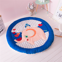 New Soft Velvet Cartoon Elephant Round Flannel Floor Rugs Bedside Carpet Area Rugs Kid Room Newborn Baby Game Play Crawling Mat
