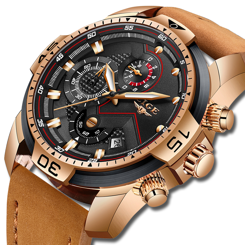 2019 LIGE Top Luxury Brand Men Analog Leather Sports Watches Men's Army Military Watch Male Date Quartz Clock Relogio Masculino