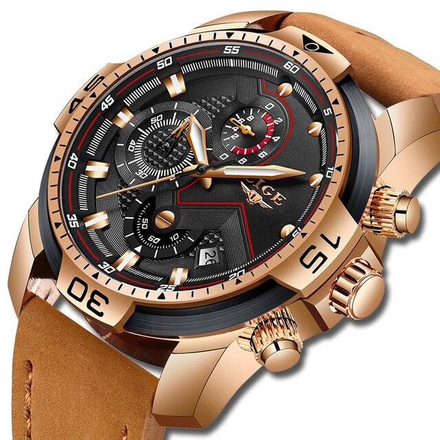 2019 ליגע למעלה יוקרה מותג גברים אנלוגי עור ספורט שעונים גברים של צבא צבאי שעון זכר תאריך קוורץ שעון Relogio masculino