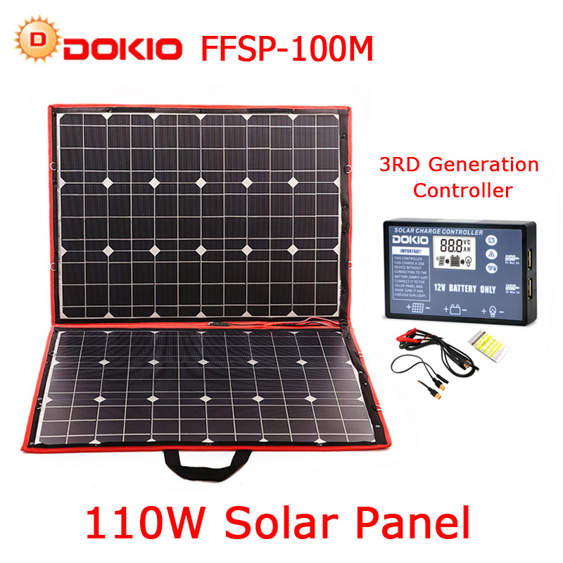 Dokio 100 w (50 W x 2 pcs) foldble Mono Painel Solar flexível Para Viagens & Boat & RV Alta Qualidade Portátil Painel Solar China