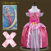 Sleeping Beauty Fashion Baby Aurora Princess Dress Children Clothing Tangled Dress Infant Girl Rapunzel Costume Elsa Wig Gloves(China)