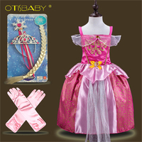 Sleeping Beauty Fashion Baby Aurora Princess Dress Children Clothing Tangled Dress Infant Girl Rapunzel Costume Elsa Wig Gloves