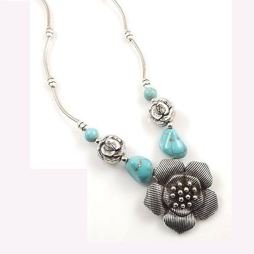 1bdf89296cbf Joyería Al por mayor de Europa plata tibetana declaración vintage Collares  flor Tallados collar y colgantes para mujer