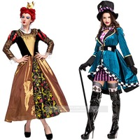 Alice In Wonderland Costume Red Queen Mad Hatter Costume for Women Halloween Witch Dress Sexy Magician Costume Magic Show Wear