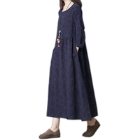 2019 New spring and autumn women's loose cotton long dress long sleeved O neck solid color long dress female retro robe