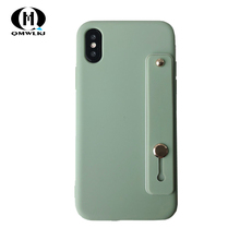 Cute Candy Solid Color Cover With Wrist Strap Phone Cases For iPhone 6 6S 7 8 PLUS X XR XS MAX Silicone Soft Case