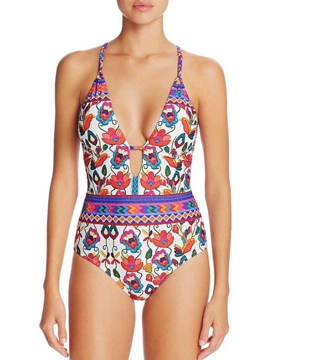 Heißer 2017 Frauen Floral Bedruckte Einteiliges Bikinis Eingestellt Badeanzug Bademode Badeanzug Beachwear Bikini