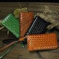 Women colourful Genuine Leather knitting Wallet  Zip Around long Wallet Clutch Purse Wristlet Coin Purse Card Holder Billetera