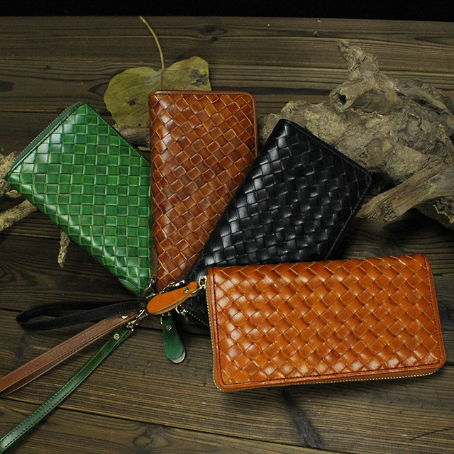 7f99998c7ef5 Women colourful Genuine Leather knitting Wallet Zip Around long Wallet  Clutch Purse Wristlet Coin Purse Card Holder Billetera -in Wallets from  Luggage ...