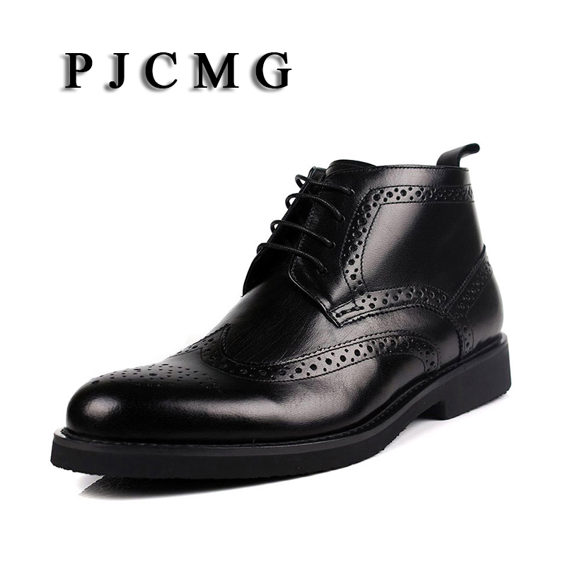 PJCMG Winter Wool Carved High Genuine Leather Men s Warm Cotton Padded Snow Bullock Patterns Oxford
