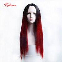 Bybrana длинные прямые волосы Ombre черный, красный парик жаропрочных Синтетический Косплэй парик для Для женщин Halloween Party