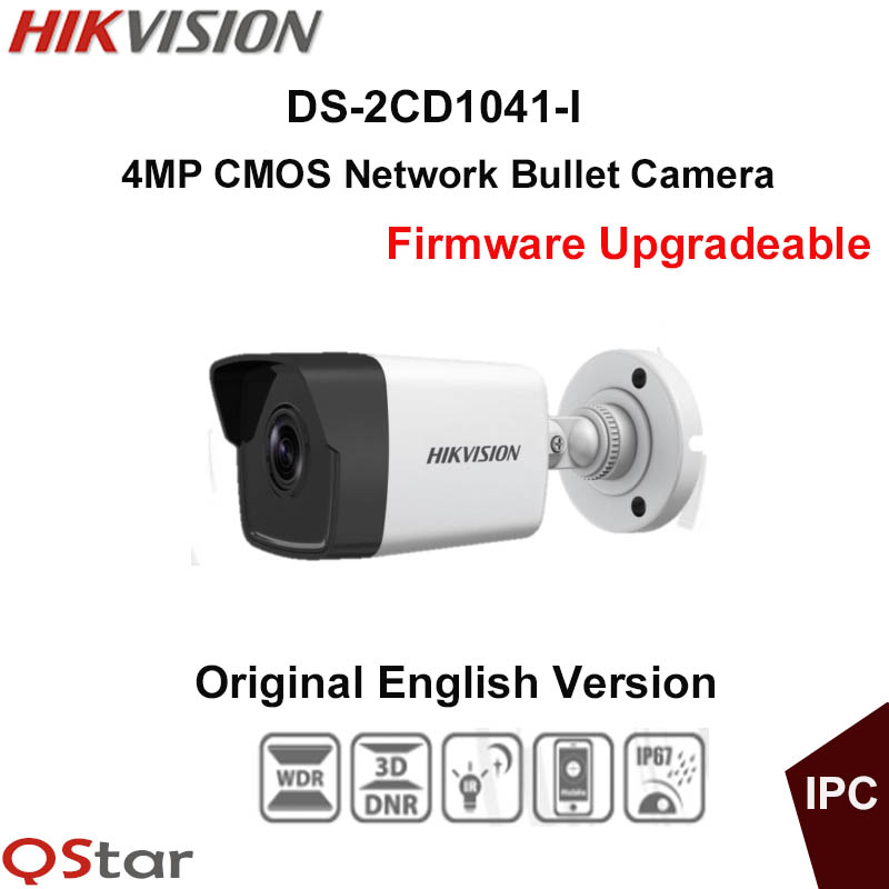Hikvision Original English CCTV Camera DS-2CD1041-I replace DS-2CD2045-I 4MP Mini Bullet IP Camera POE IP67 Firmware Upgradeable hikvision ds 2de7230iw ae english version 2mp 1080p ip camera ptz camera 4 3mm 129mm 30x zoom support ezviz ip66 outdoor poe