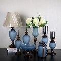 8 Stücke Set Hohe qualität blau legierung Obst gerichte glas Kerzenständer  vase  Dekorative glas  Hochzeit kreative Weihnachten oder Geschenk