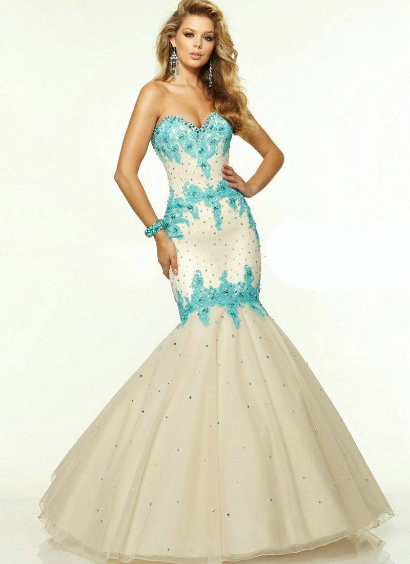 Champagne and Black Mermaid Prom dresses Champagne and Turquoise ...