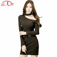 2017 Autumn Mini Sexy Club Dress Women Full Sleeve Buttons Halter Sloping Shoulder Bodycon Black Vestidos