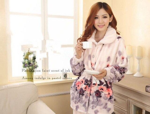 Новая Осень/зима фланелевые пижамы утолщение женщины устанавливает пижамы сладкий женщины девушки цветы печати Домашняя Одежда Домой Костюм