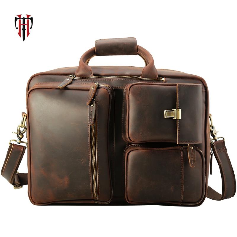 TIANHOO multifonctionnel sacs à bandoulière 17 pouces ordinateur portable poignée sac homme rétro fou cheval en cuir bagages organisateur sac