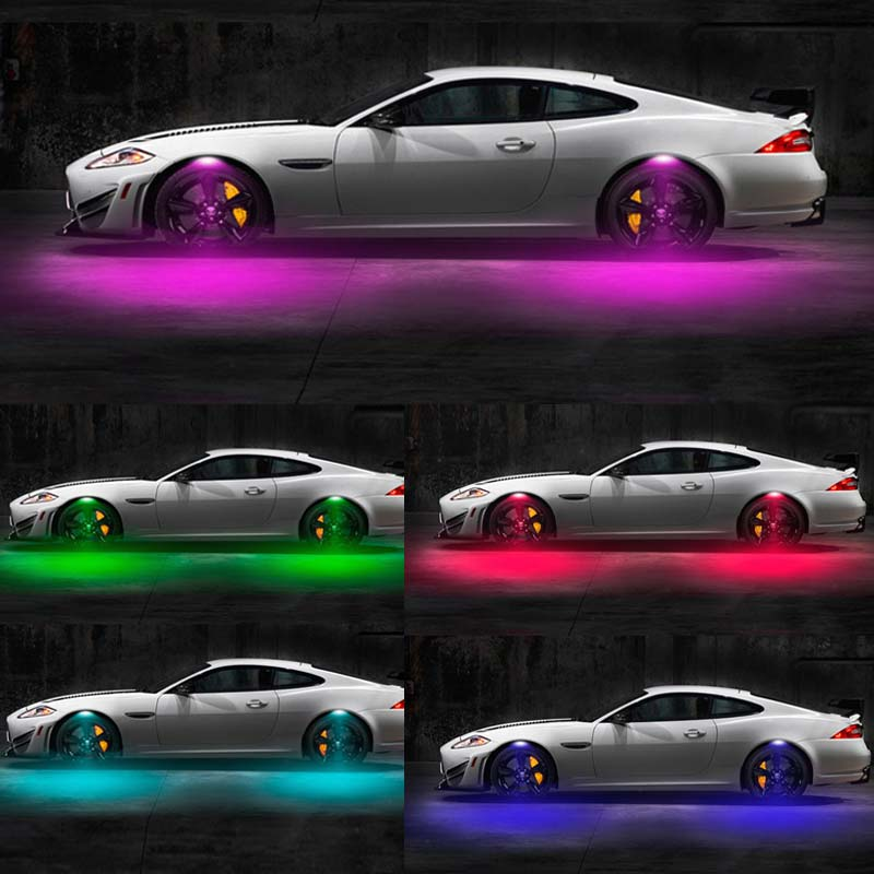 1 Set Universal Multi-Color Car Fender Wheel Eyebrow LED Light Tire RGB Remote Control Decor Lights DXY88