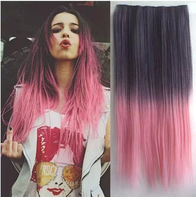 d7c6f07270 Fashion Girls Five Snap Clip Gradient Colored Straight Hair Piece 23.6``Hair  Extension
