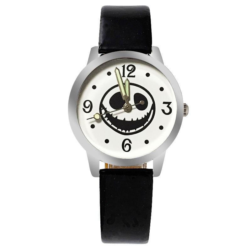 Classic  Black And White Cartoon Children's Watch Casual Luminous Boy Girl Red Leather Quartz Clock  Relogios Feminino Kol Saati